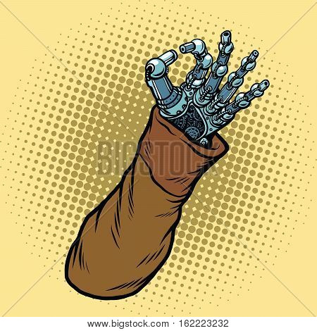 Okay hand gesture robot, pop art retro vector illustration. Steampunk Western style. Science fiction