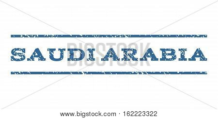 Saudi Arabia watermark stamp. Text tag between horizontal parallel lines with grunge design style. Rubber seal stamp with dust texture. Vector cobalt color ink imprint on a white background.
