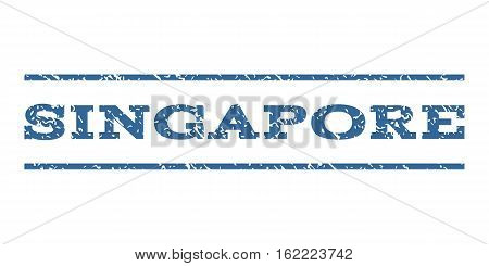 Singapore watermark stamp. Text tag between horizontal parallel lines with grunge design style. Rubber seal stamp with unclean texture. Vector cobalt color ink imprint on a white background.