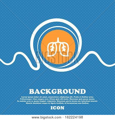 Lungs Icon Sign. Blue And White Abstract Background Flecked With Space For Text And Your Design. Vec