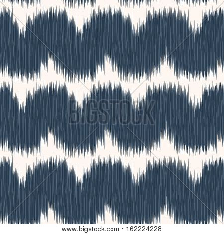 Black and white seamless pattern with Ikat style. The drawing with wavy strips. Vector illustration