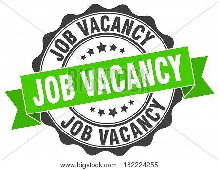 job vacancy. stamp. sign. seal. round. retro. ribbon