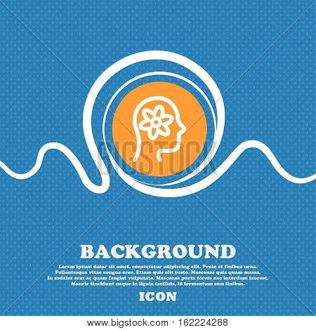 Pictograph Of Gear In Head Icon Sign. Blue And White Abstract Background Flecked With Space For Text