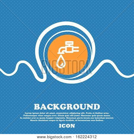 Water Tap Icon Sign. Blue And White Abstract Background Flecked With Space For Text And Your Design.