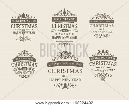 Set of 6 retro vintage Christmas badges, design elements, labels, emblems. Badges and labels with merry christmas greetings. Great for decoration cards, backdrops, book covers