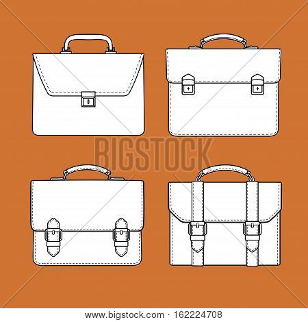 briefcase black and white icons set. vector graphic design.