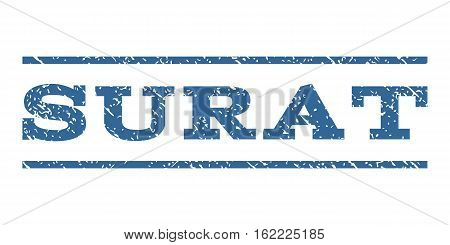 Surat watermark stamp. Text caption between horizontal parallel lines with grunge design style. Rubber seal stamp with dirty texture. Vector cobalt color ink imprint on a white background.