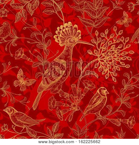 Birds and flowers vector illustration. Unusual motives of nature oriental style. Seamless pattern with image of animals and plants for design fabrics paper. Vintage art. Red background and gold foil