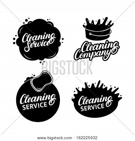 Set of hand written lettering Cleaning Service logos, labels, badges, emblems. Isolated on white background. Vector illustration.