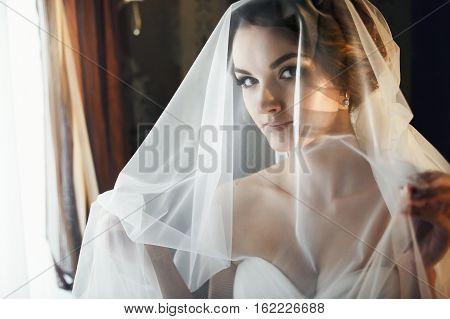 Bride looks misterious throw the white veil