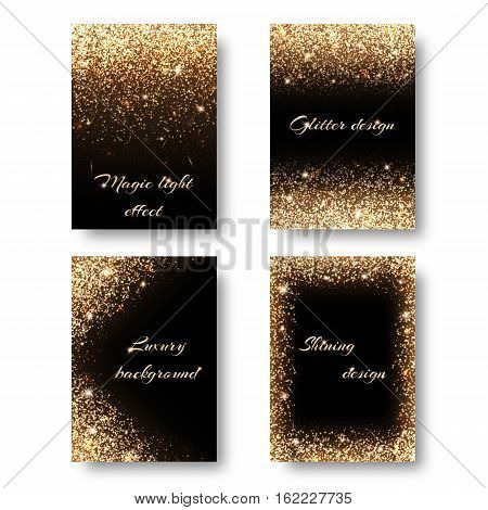 Set of backgrounds with golden lights to design greeting cards. Christmas decorations with glitter.