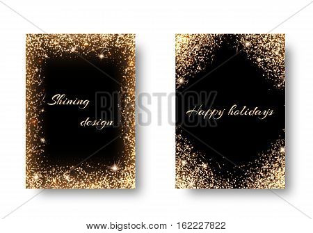 Glitter background for festive decoration. Set backs with golden light effects. Celebrating the New Year 2017