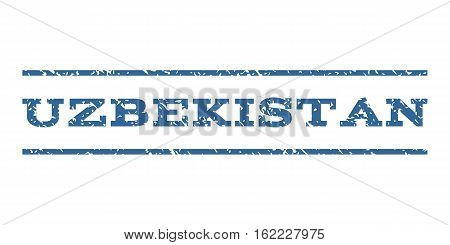 Uzbekistan watermark stamp. Text caption between horizontal parallel lines with grunge design style. Rubber seal stamp with dust texture. Vector cobalt color ink imprint on a white background.