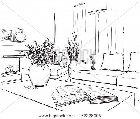 Modern interior room sketch. Hand drawn furniture