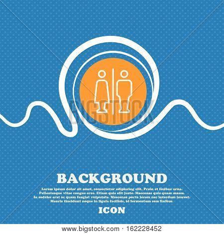 Man & Woman Restroom Icon Sign. Blue And White Abstract Background Flecked With Space For Text And Y