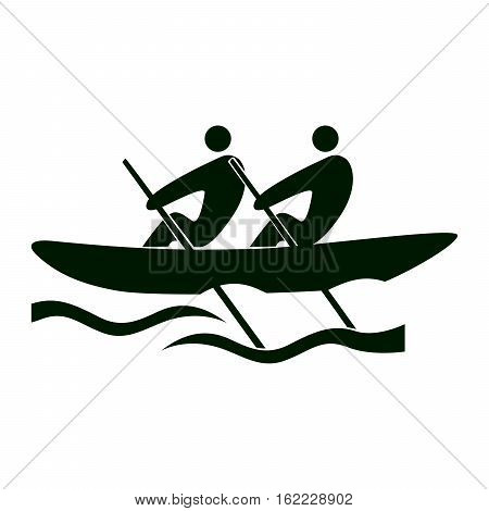 Isolated rowing icon. Black figures of athlets on white background. People in a boat.