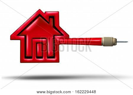 House target real estate buying or selling concept as a flying red dart shaped as a home as housing mortgage rates metaphor for realtor target as a 3D illustration white background.