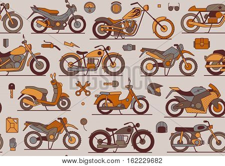 motorbikes seamless pattern, isolated vector illustration icons