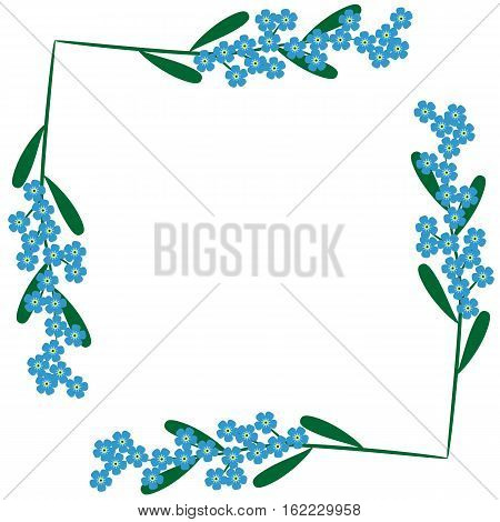 Floral vintage frame with forget-me-not flowers. Spring border with blue millefleurs.