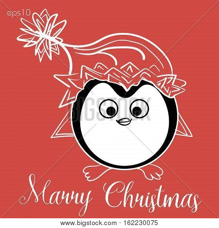 Penguin in Christmas hat Abstract bird design author card merry eye wing beak funny cartoon style print holiday New Year text Stock eps10 vector illustration