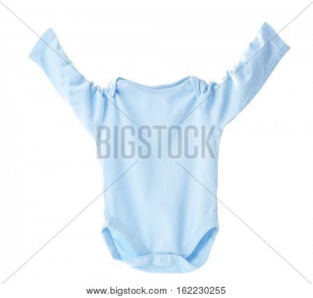 Blue baby bodysuit on white background
