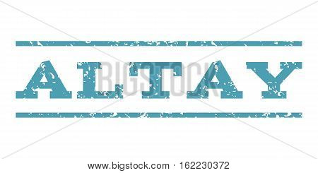 Altay watermark stamp. Text tag between horizontal parallel lines with grunge design style. Rubber seal stamp with unclean texture. Vector cyan color ink imprint on a white background.