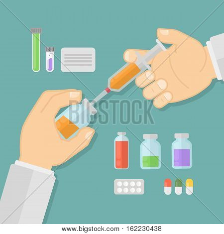 Vaccination concept illustration. Doctor making vaccine in the lab. Syringe and medicine.