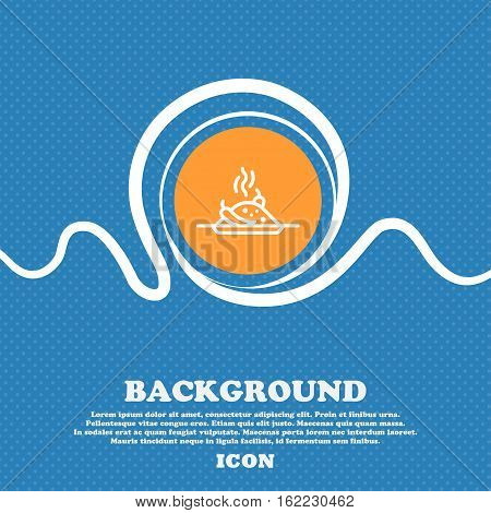 Plate With Red Hot Chili Pepper And Burning Porrige Icon Sign. Blue And White Abstract Background Fl