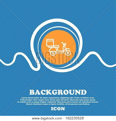 Scooter Icon Sign. Blue And White Abstract Background Flecked With Space For Text And Your Design. V