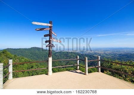 Viewpoint and sign of Doi tung in Chiang rai Thailand