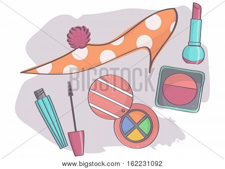 Colorful set with stylish stiletto shoe and makeup. Fashion and beauty products collection.