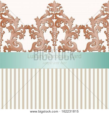 Vintage Baroque damask Invitation card Imperial style. Vector decor background. Luxury Classic ornament. Royal Victorian floral for birthday, wedding, textile print, wallpaper, wrapping paper