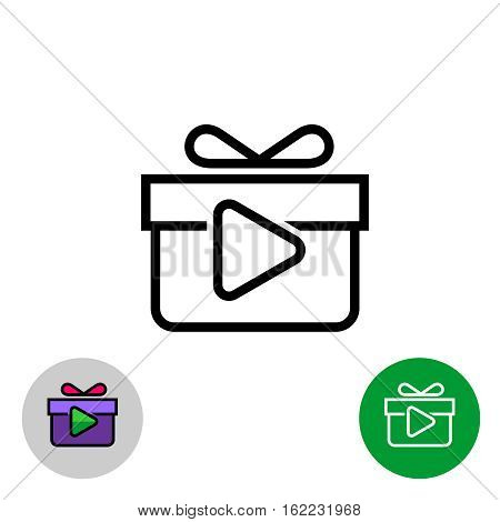Rewarded video ads icon. Gift box with play button. Outline style symbol.