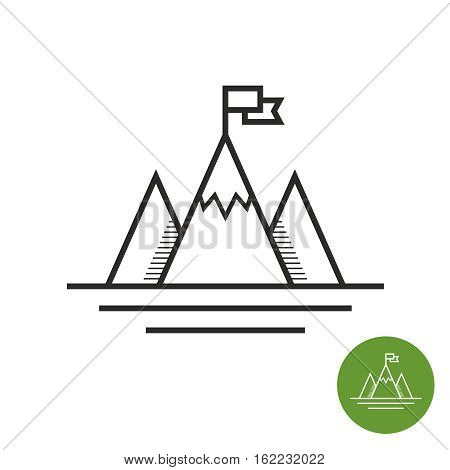 Success icon. Mountains with flag on a peak as aim achievment or leadership illustration.