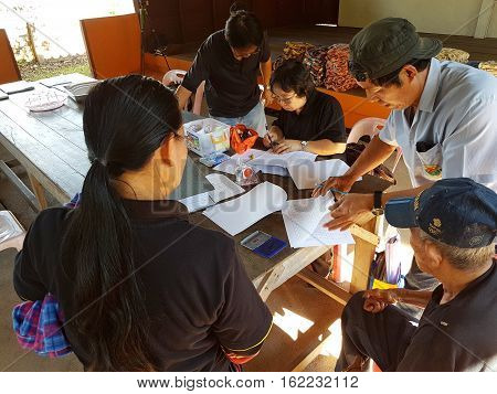 CHIANG RAI THAILAND - DECEMBER 19 : Unidentified female asian doctor diagnose old man suffering from leprosy on December 19 2016 in Chiang rai Thailand.