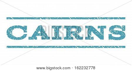 Cairns watermark stamp. Text caption between horizontal parallel lines with grunge design style. Rubber seal stamp with dirty texture. Vector cyan color ink imprint on a white background.