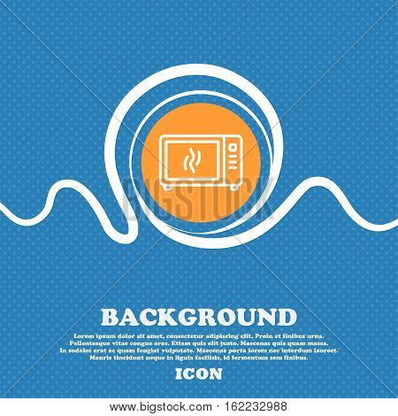 Microwave Oven Icon Sign. Blue And White Abstract Background Flecked With Space For Text And Your De