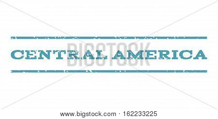Central America watermark stamp. Text tag between horizontal parallel lines with grunge design style. Rubber seal stamp with dirty texture. Vector cyan color ink imprint on a white background.