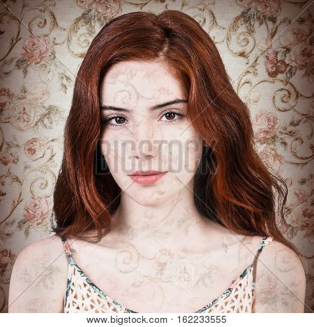 Double exposure of beautiful redhead woman and roses wallpaper