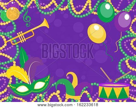 Mardi Gras poster with mask, beads, trumpet, drum, fleur de lis, jester hat, masks, comedy and drama. Mardi Gras Carnival template, flyer, invitation. Fat Tuesday background Vector illustration