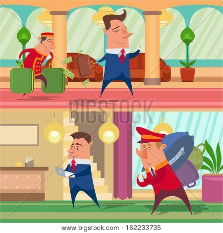Colored backgrounds set of picture porter, hotel, hall, guest, reception, laundry, foyer, businessman.