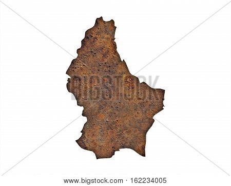 Map Of Luxembourg On Rusty Metal