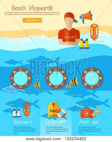 Lifeguards infographic work of a professional lifeguard on the beach vector