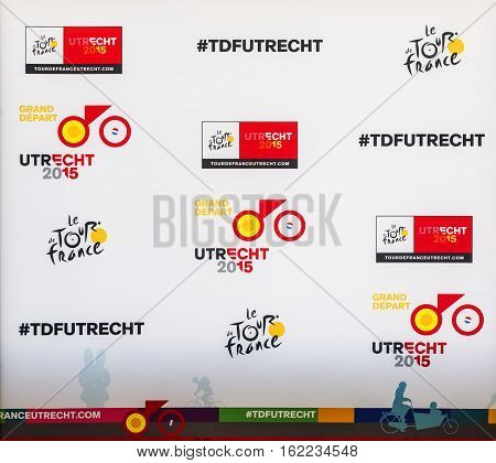 UtrechtNetherlands - 04 July 2015: The promotional official pannel for the start stage of Tour de France 2015 in Utrecht Netherlands.