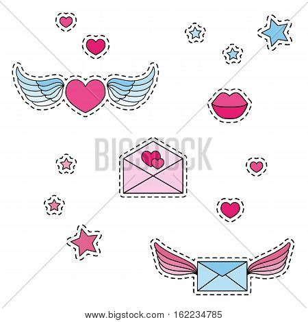 Fashion patch badges. Winged heart winged mail envelope. Set of stickers pins patches in cartoon 80s-90s comic style. Vector illustration isolated on white background.