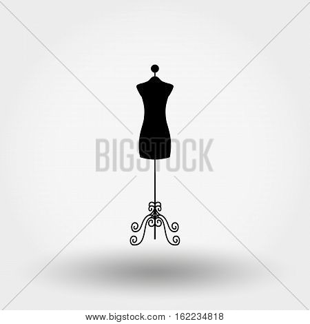 Vintage tailors mannequin. Icon for web and mobile application. Vector illustration on a white background. Flat design style.