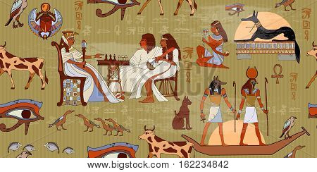 Ancient Egypt seamless pattern. Hieroglyphic carvings on the exterior walls of an ancient egyptian pattern. Murals ancient Egypt. Egyptian gods and pharaohs seamless pattern