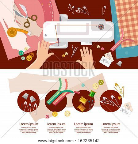 Professional seamstress infographics work on sewing machine top view. Tailoring sewing equipment work table dressmaking vector