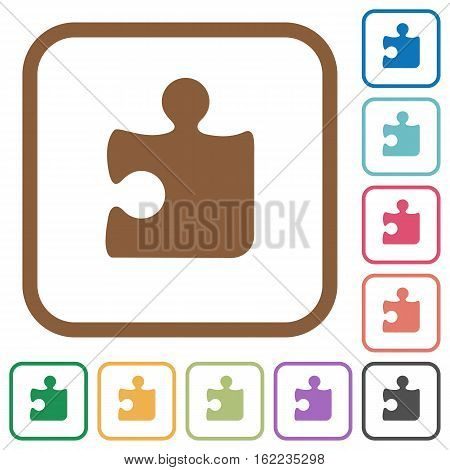 Puzzle simple icons in color rounded square frames on white background