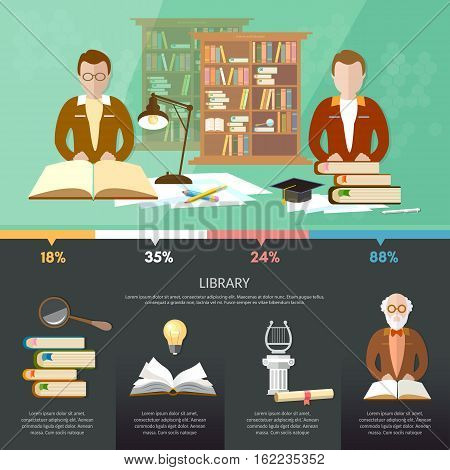 Public library infographic elements students read book librarian professor library interior with people vector